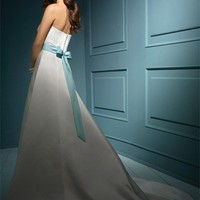 A-line Sweetheart Sleeveless Chapel Train Satin Wedding Dresses YSP0073 | $121.69 | Maryswill.com.