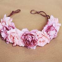 rose crown headband - pastel pink, flower crown, Lana del ray, frida kahlo, large rose hair wreath, festival crown, romantic.
