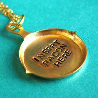 Insert Bacon Here Frying Pan Necklace in Brass
