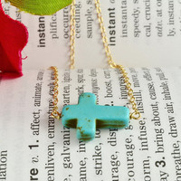 Turquoise Sideways Cross Necklace, 14K Gold Filled Chain, Simple, Delicate, Lovely Necklace