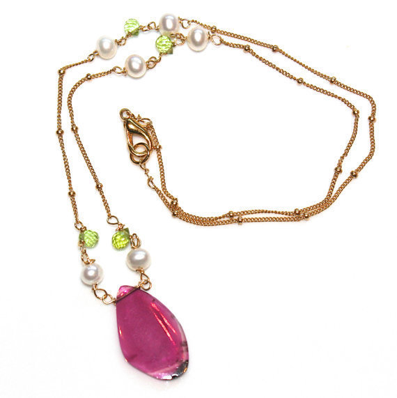 Yummy Watermelon Tourmaline Slice Pink Green Peridot Pearl Gold Vermeil Ball Chain Strand Necklace Fizz Candy