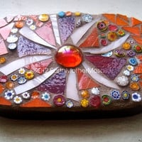 Flower Power Mosaic Art, Wall Hanging, Stained Glass, Orange, Pink, Hippie, Psychedelic - 4-3/4 x 3-1/4 inches