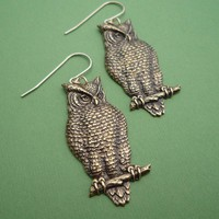 golden wise owl earrings