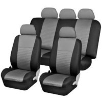 FH-FB060115 Trendy Elegance Car Seat Covers, Airbag compatible and Split Bench, Gray / Black color: Automotive