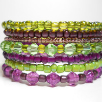 Memory Wire Bracelet Green and Purple Stacking Bracelet