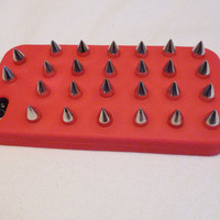 Red Studded Iphone Case cover with Silver or Gold Spikes Studs