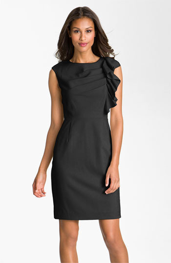 Calvin Klein Side Ruffle Woven Sheath Dress | Nordstrom