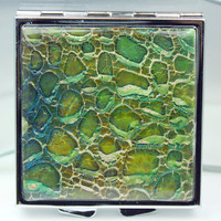 Polymer clay covered compact mirror, square, OOAK design with inks, leaf, powders and texture