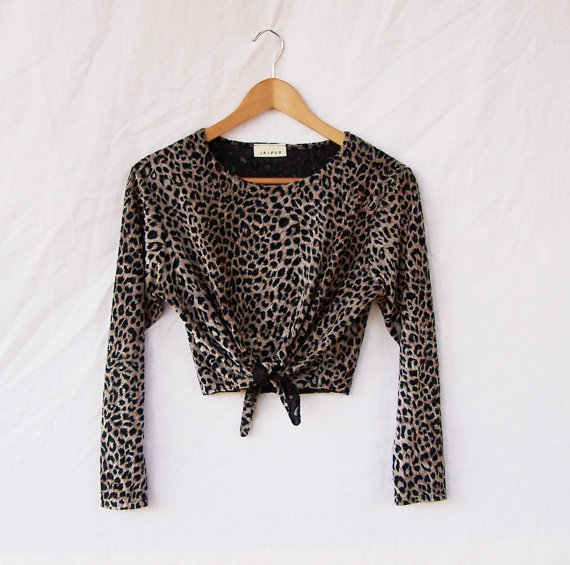 Velvet burnout tie front top / crop top / upcycled knit top /  long sleeve leopard print / stretchy pullover top / eco clothing