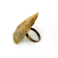 Arrowhead Ring - Natural Jasper Agate Gemstone, Rough, Raw, Mustard Yellow Brown, Tribal Summer Fashion Trend, Adjustable Copper Band