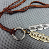 Brown real Leather and alloy feather pendant adiustable necklace mens necklace  unisex necklace cool necklace B1S1