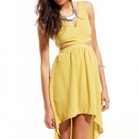 Mesh Strap Cutout High-Low Dress in Chartreuse