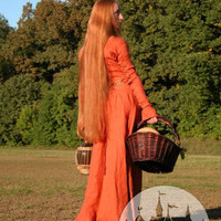 "Medieval Linen Long Dress Tunic ""Red Elise"""
