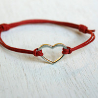 Open Heart Bracelet on Cotton Thread / Heart Anklet (24 colors to choose)