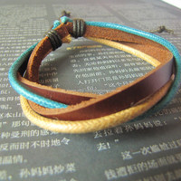 10%OFF Discount 4 Cricles Brown Leather Bracelet made of Brown Leather and Multicolour Hemp Ropes adjustable  423s