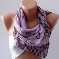 Marine Shawl - Violet Purple Shawl - Cotton Scarf