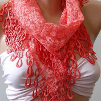 ON SALE/pomegranate flower color / Elegance  Shawl / Scarf with Lacy Edge-