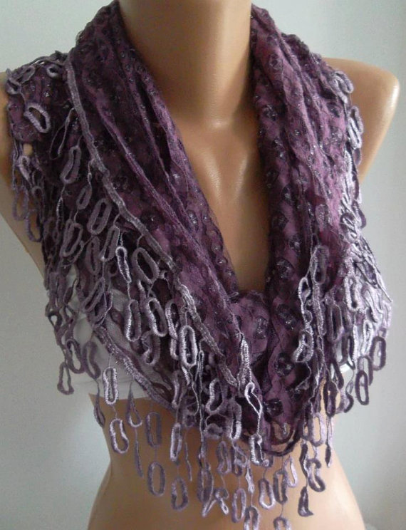 Purple Lace and Elegance Shawl / Scarf - with Lace Edge-