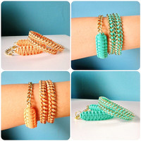 Double Wrap Lattice & Chain Bracelet Set