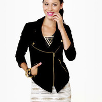 Cute Black Jacket - Velvet Jacket - Zipper Jacket - $84.00