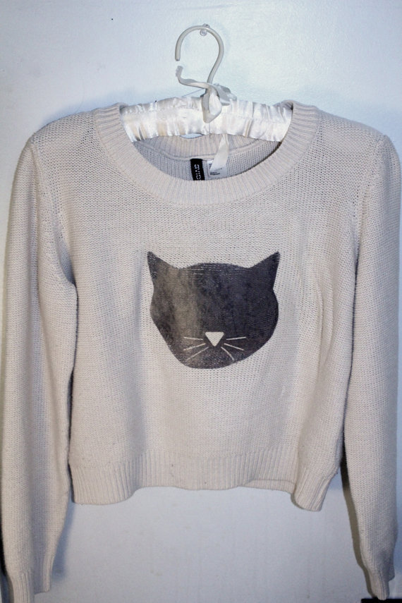 Cream Cat Sweater