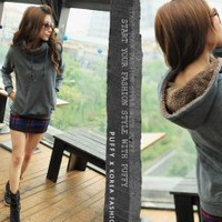Autumn Stand Collar Grey Pure Ladies Hoodies  : Wholesaleclothing4u.com