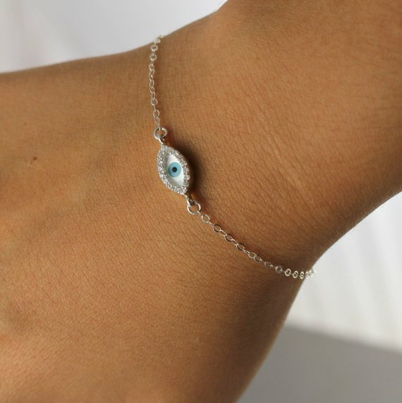 Evil Eye Bracelet, Lucky charm Bracelet, Sterling Silver Evil Eye, Cubic Zirconia Crystal, Birthday Gift, Mother Gift, Celebrity Bracelet