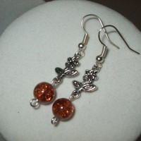 NEW 5 Dollar Earrings - Silver Flower and Orange Crackle Glass Set