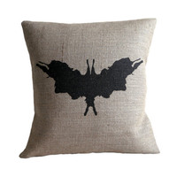 Rorschach Ink Blot 5 Hessian Burlap Pillow Cushion Cover 16""