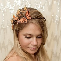 Orange Monarch Butterfly Crown - princess, fairy,autumn,forest,renaissance