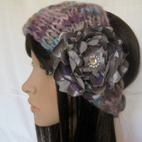 Ear Warmer Headband Headwrap Hand Knit In Multi Colored Purple, Grey and Aqua with Coordinating Removable Chiffon and Satin Fabric Flower