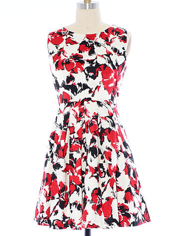 Retro Rorschach Roses Dress