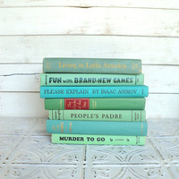Green, Aqua  Books Instant Library Collection Decorative Books Photography Props Shades of Sea Glass Coastal