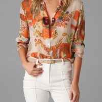 Equipment Hawaiian Long Sleeve Blouse