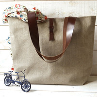Eco friendly  ROT PROOF French tote bag  with Leather strap / Market tote with LINEN