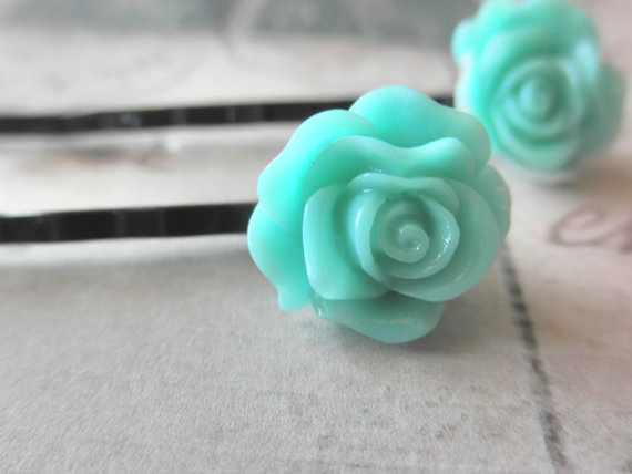 Aqua Rose Bobby Pins