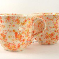 Large Ceramic Mugs Orange Yellow and White by RiverRockArts on Zibbet