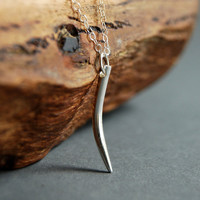Koa necklace - sterling silver tusk horn necklace, modern, simple, minimal, everyday necklace, adjustable, maui, hawaii