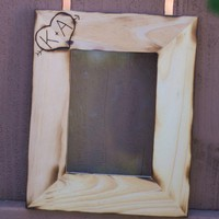 Rustic Chic Engraved Personalized Wood Frame Heart and Arrow With your Initials