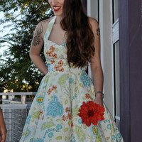 Halter Floral Alex Rose Dress in Custom Prints