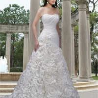A-line strapless chapel train taffeta organza wedding dress WD2132