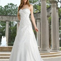 A-line sweetheart sweep train Embroidery with satin wedding dress WD2135