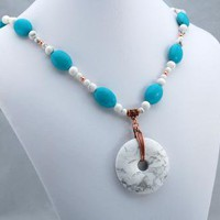 Turquoise and White Buffalo Stone Tailored Elegance Handmade Necklace by ExoticTreasuresJewelry