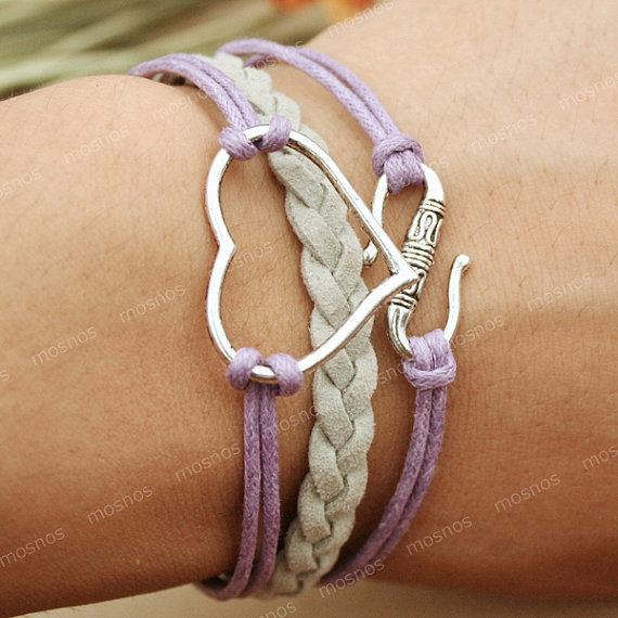 Bracelet-purple heart bracelet with S charm, gift for her, lover gift