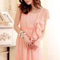 Women Chiffon Off-Shoulder Round Neck Pink One Size Fitting Dress@MF3414p - $19.27 : DressLoves.com.