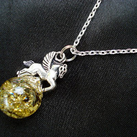 Pegasus Greek Geek Gold Crackle Glass Marble Hercules Necklace