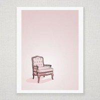 Pink Vintage Chair - Illustrated Art Print