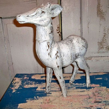 Large wooden animal shabby primitive farmhouse white distressed sculpture Anita Spero