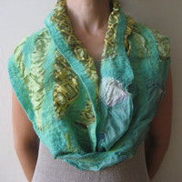 Green Mint Nuno Felt Infinity Loop Scarf Shawl Wrap: Wool, Silk. Splendid, Light and Bright. Gift under 25.