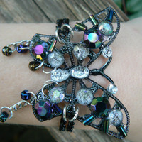 butterfly gemstone bracelet purple irridescent gypsy boho hippie gothic and fantasy style